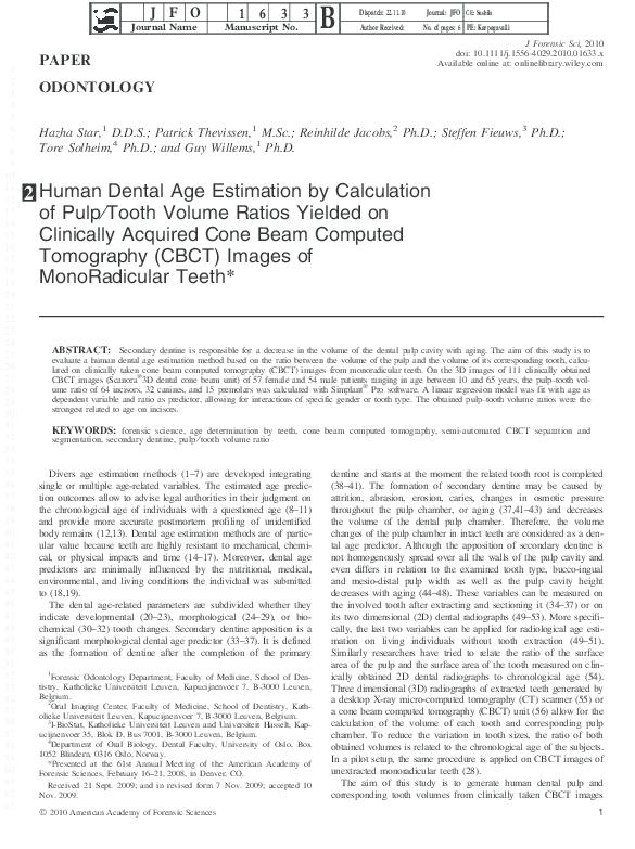 PDF) Human Dental Age Estimation by Calculation of Pulp