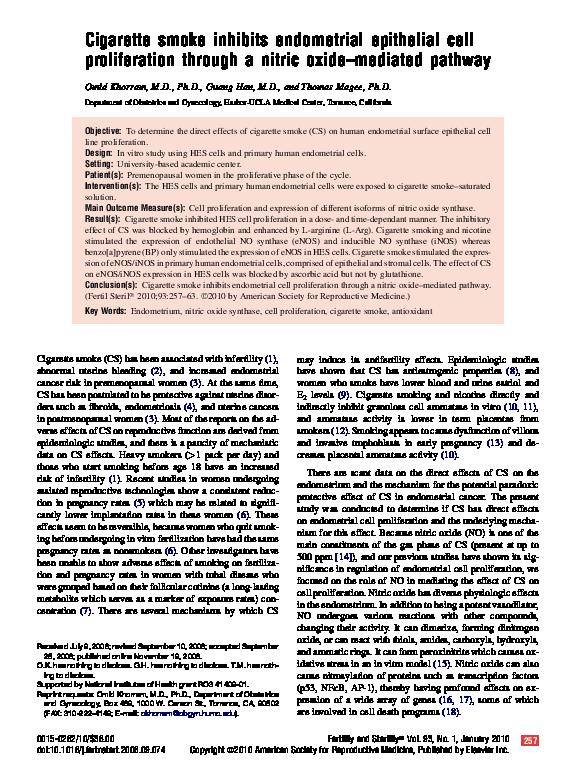 PDF) Cigarette smoke inhibits endometrial epithelial cell