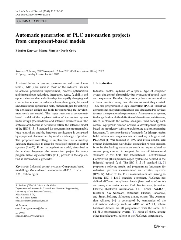 PDF) Automatic generation of PLC automation projects from