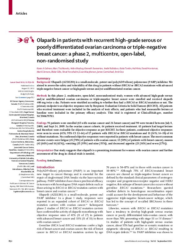 Pdf Olaparib In Patients With Recurrent High Grade Serous Or Poorly Differentiated Ovarian Carcinoma Or Triple Negative Breast Cancer A Phase 2 Multicentre Open Label Non Randomised Study Kenneth Swenerton And Hal Hirte Academia Edu