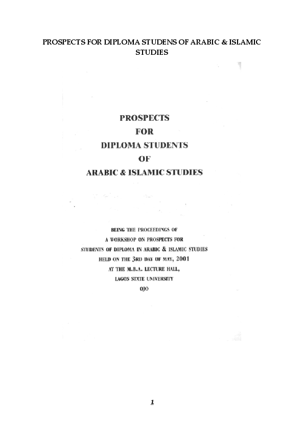 PDF) PROSPECTS FOR DIPLOMA STUDENS OF ARABIC & ISLAMIC