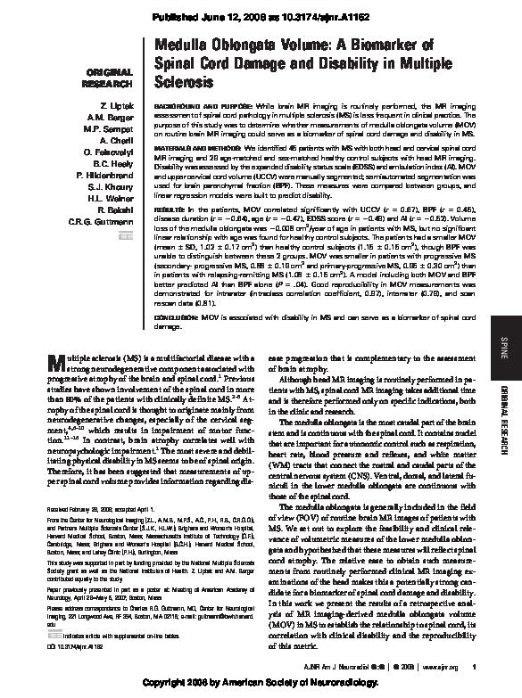 (PDF) Medulla Oblongata Volume: A Biomarker of Spinal Cord ...