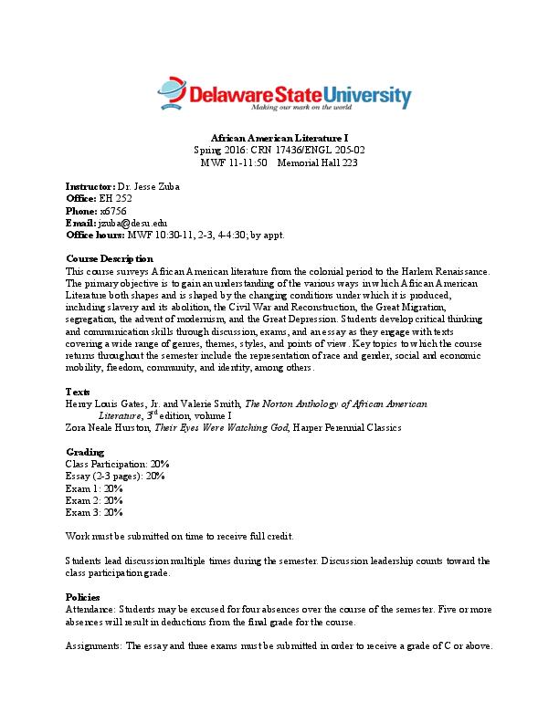PDF) Syllabus: African American Literature I | Jesse Zuba - Academia edu