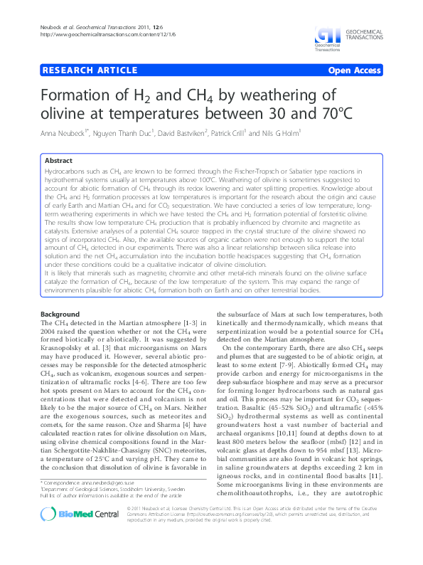 PDF) Formation of H 2 and CH 4 by weathering of olivine at
