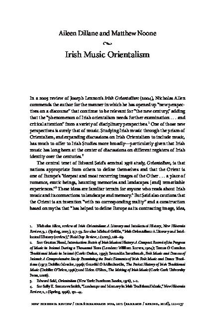 PDF) Irish Music Orientalism | Matthew (Mattu) Noone - Academia edu