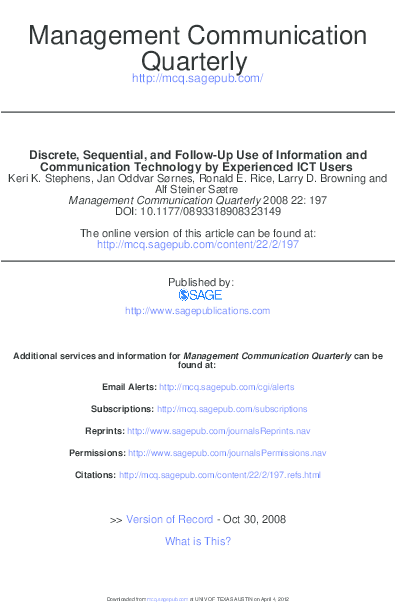 PDF) Discrete, sequential, and follow-up use of information