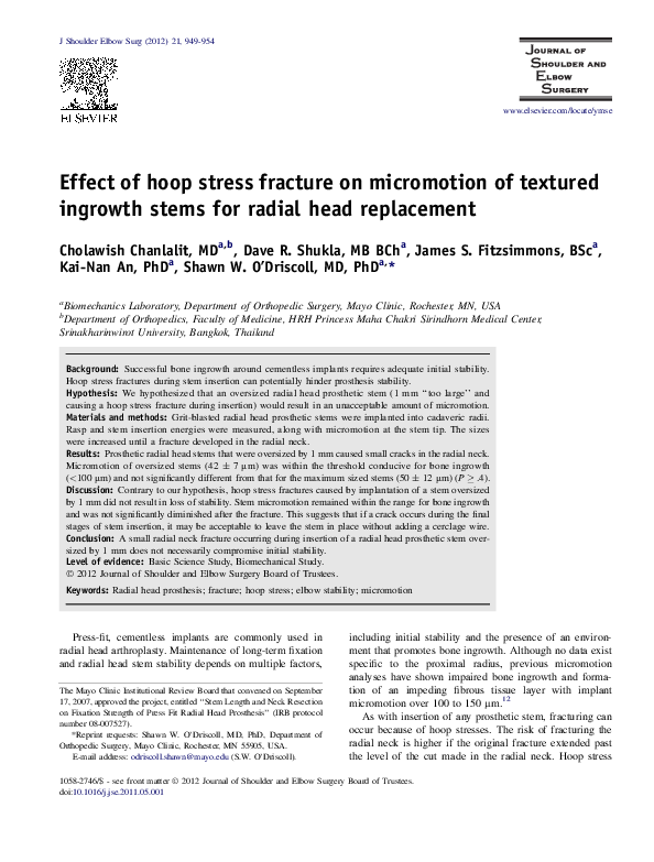 PDF) Effect of hoop stress fracture on micromotion of