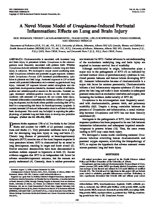 PDF) A novel mouse model of Ureaplasma-induced perinatal