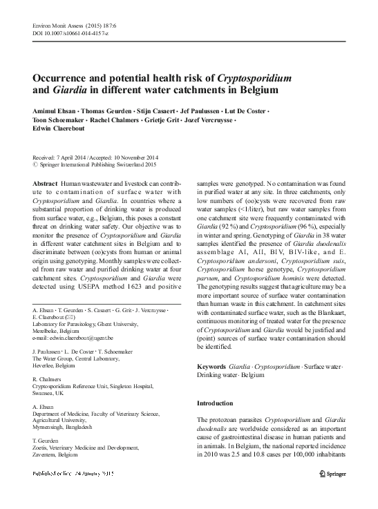 cryptosporidium and giardia in wastewater and surface water environments