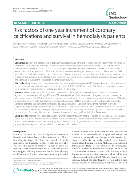 PDF) Risk factors of one year increment of coronary