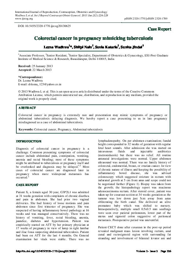 Pdf Colorectal Cancer In Pregnancy Mimicking Tuberculosis Shilpi Nain And Leena Wadhwa Academia Edu