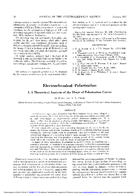 PDF) Electrochemical Polarization I  A Theoretical Analysis
