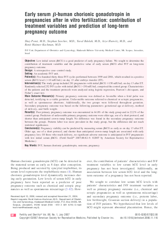 PDF) Early serum beta-human chorionic gonadotropin in