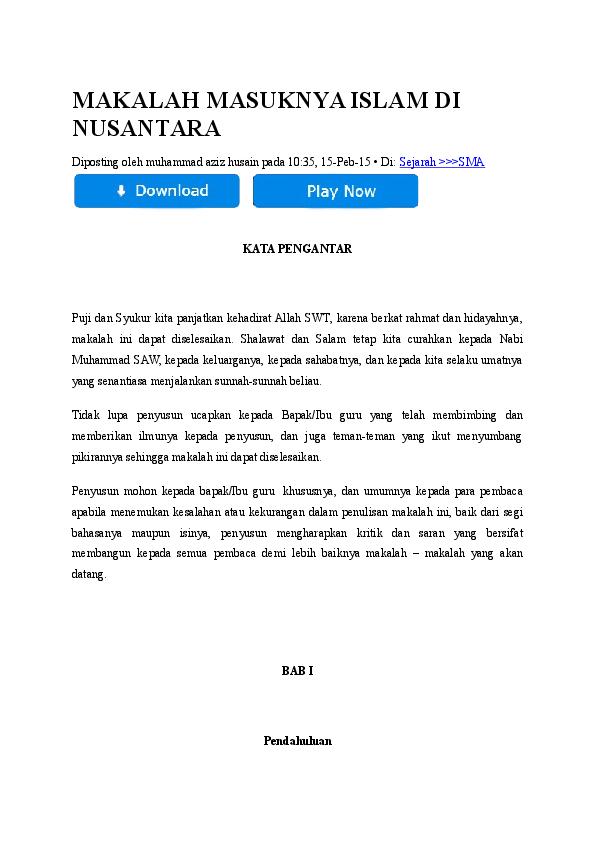 Doc Makalah Masuknya Islam Di Nusantara Nissa Ajeng Pratiwi Academia Edu
