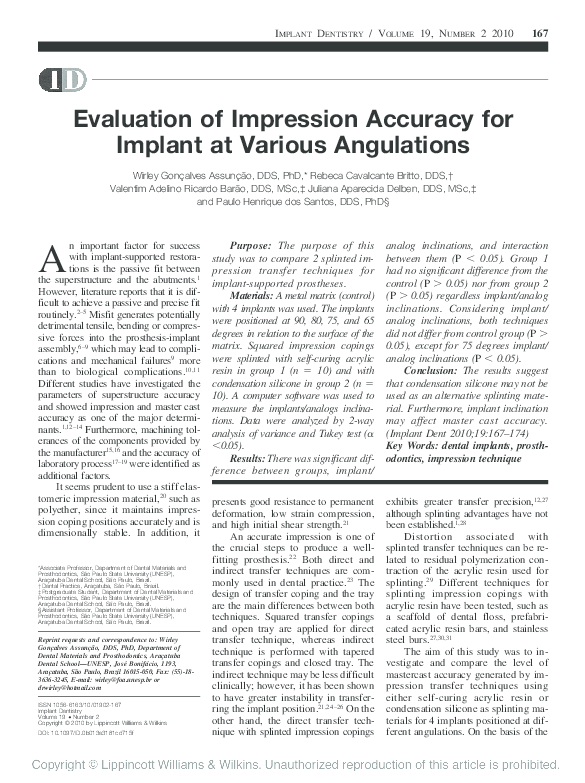 PDF) Evaluation of Impression Accuracy for Implant at Various