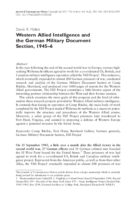PDF) Western Allied Intelligence and the German Military
