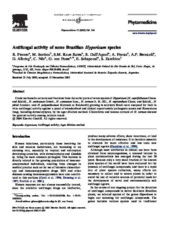 PDF) Antifungal activity of some Brazilian Hypericum species