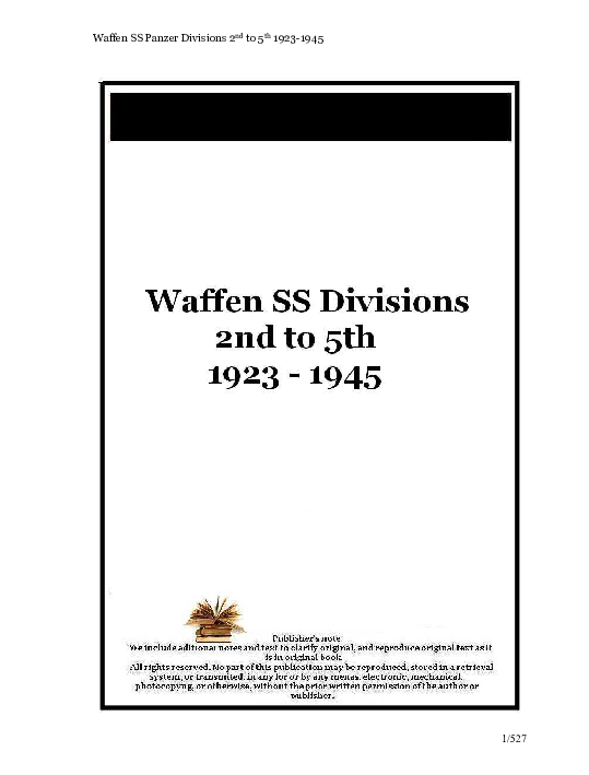 PDF) Waffen SS Panzer Divisions 2 nd to 5 th 1923-1945