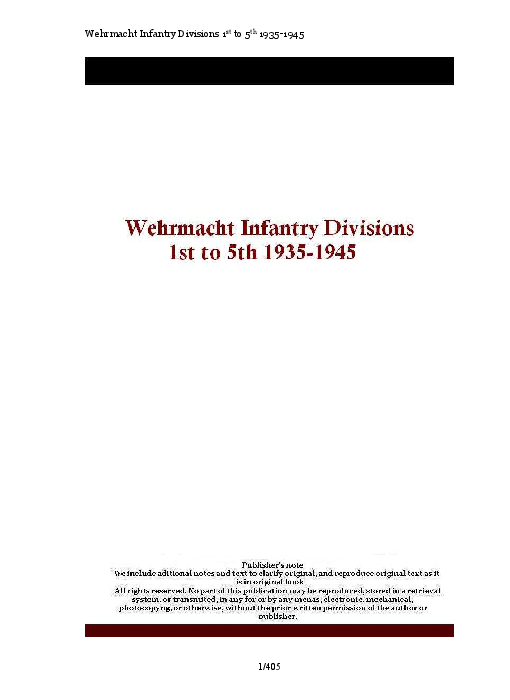 PDF) Wehrmacht Infantry Divisions 1st to 5th 1935-1945