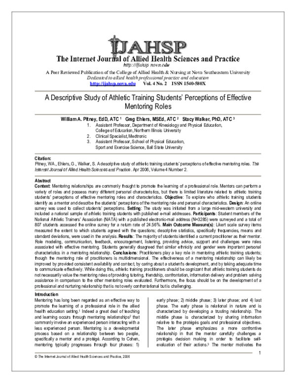 PDF) A descriptive study of athletic training students