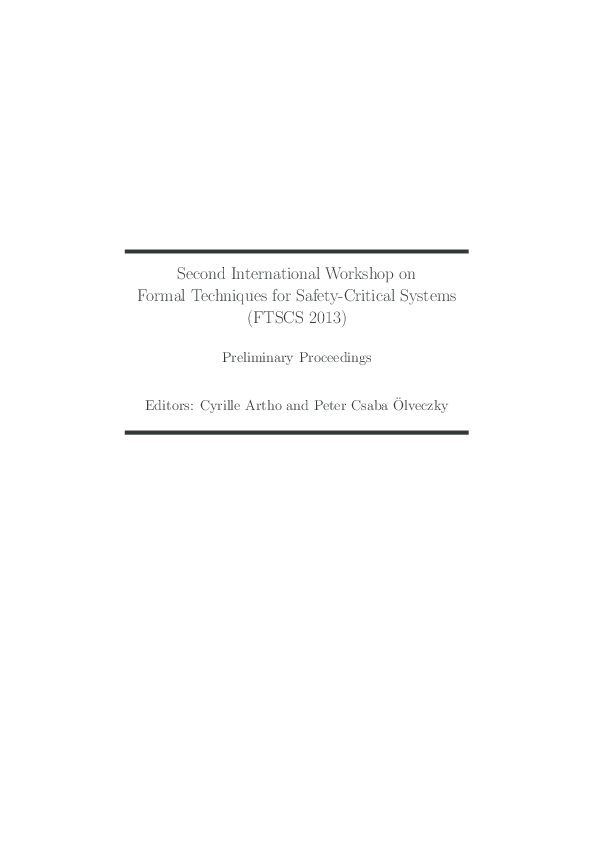 PDF) Formal Techniques for Safety-Critical Systems | Cyrille