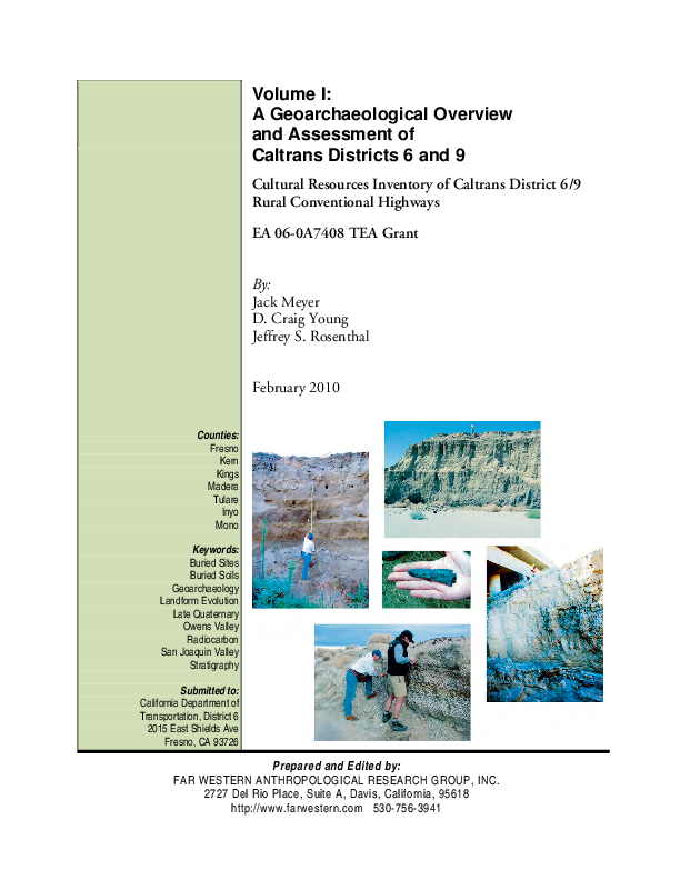 PDF) Geoarchaeological Overview and Assessment: Fresno, Inyo