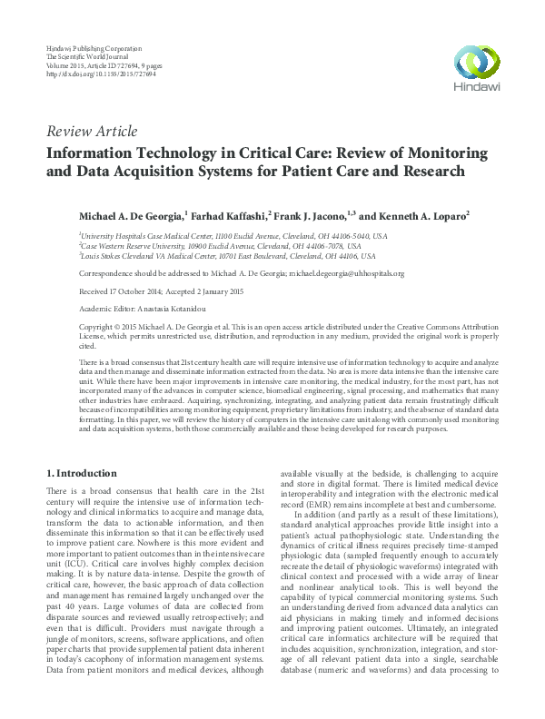 PDF) Information Technology in Critical Care: Review of Monitoring