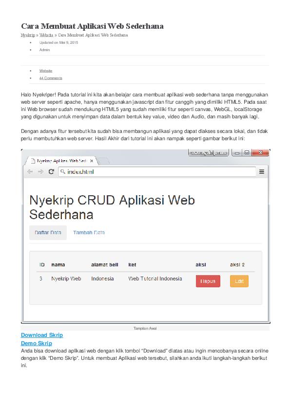 cara membuat aplikasi web sederhana