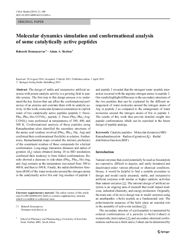 PDF) Molecular dynamics simulation and conformational analysis of