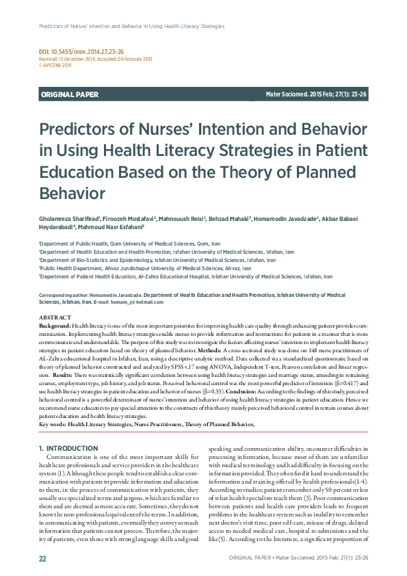 Pdf Predictors Of Nurses Intention And Behavior In Using Health Literacy Strategies Predictors Of Nurses Intention And Behavior In Using Health Literacy Strategies In Patient Education Based On The Theory Of Planned