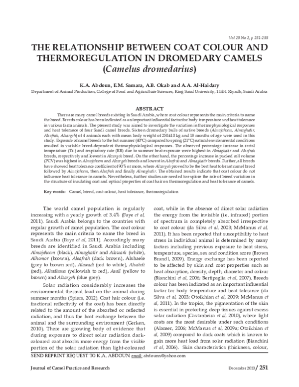 bdff71ea46aa PDF) The Relationship between coat color and thermoregulation in ...