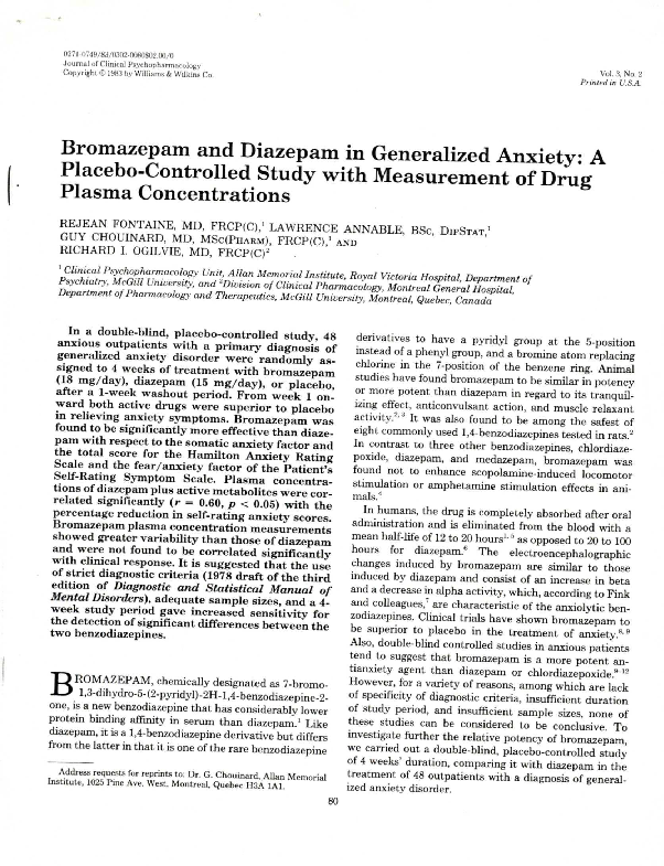 PDF) Bromazepam and Diazepam in Generalized Anxiety | Guy Chouinard
