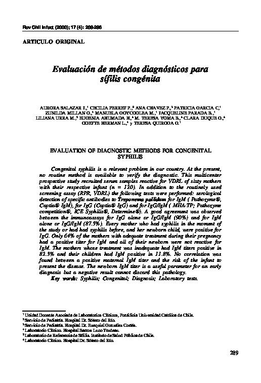 serologia presuntiva sifilis no reactiva