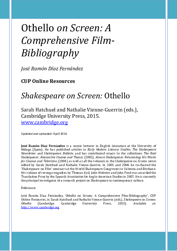 Pdf Othello On Screen A Comprehensive Film Bibliography