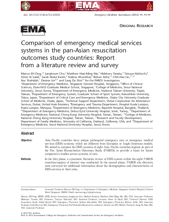 PDF) Comparison of emergency medical services systems in the pan