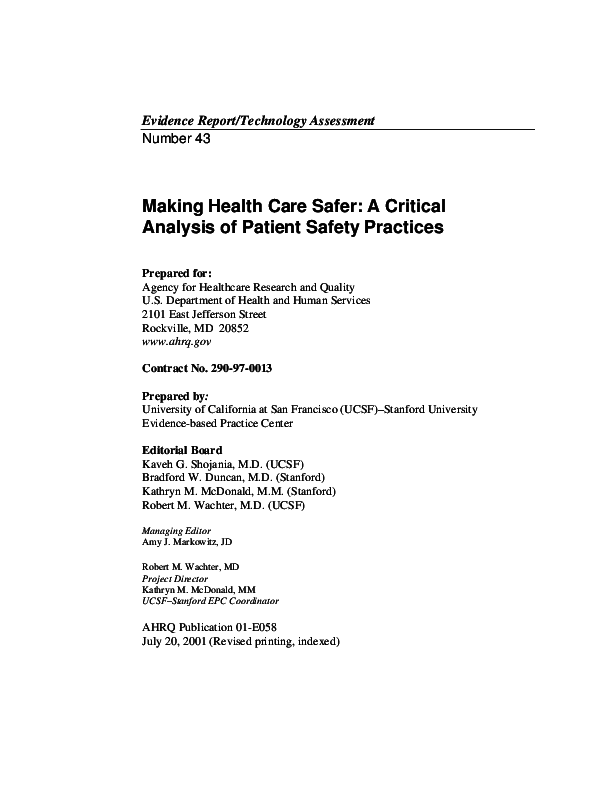 PDF) Making Health Care Safer: a Critical Analysis of