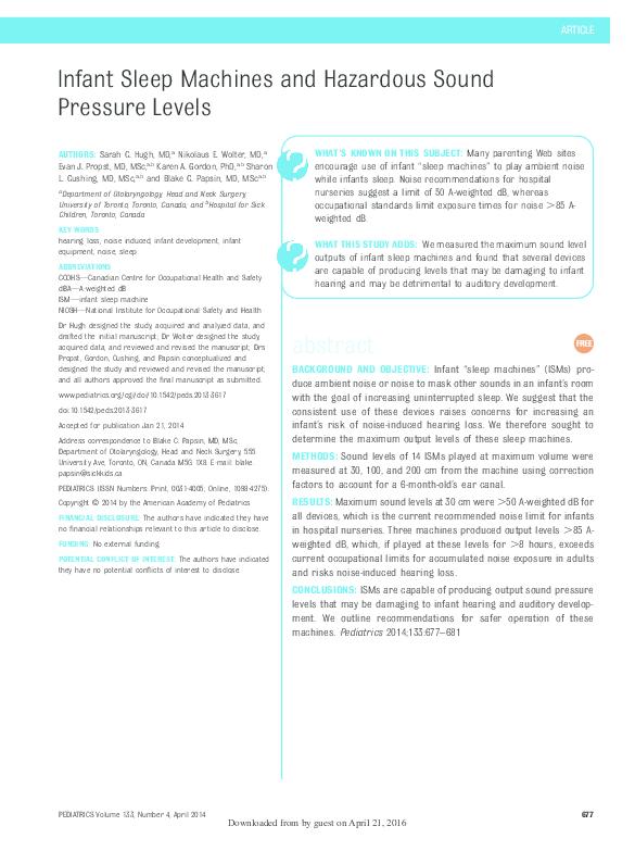 PDF) Infant Sleep Machines and Hazardous Sound Pressure