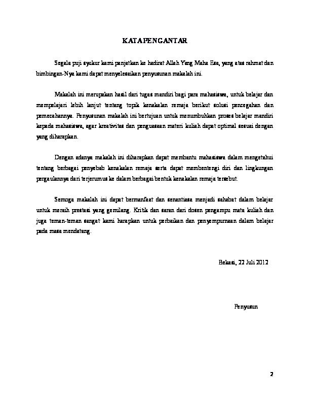 Doc Makalah Kenakalan Remaja Nur Afni Academia Edu