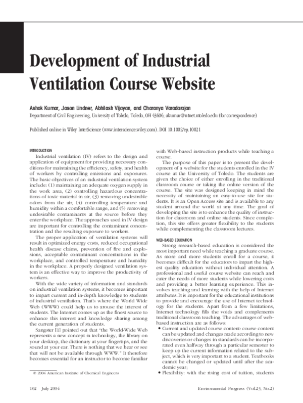 PDF) Development of industrial ventilation course website