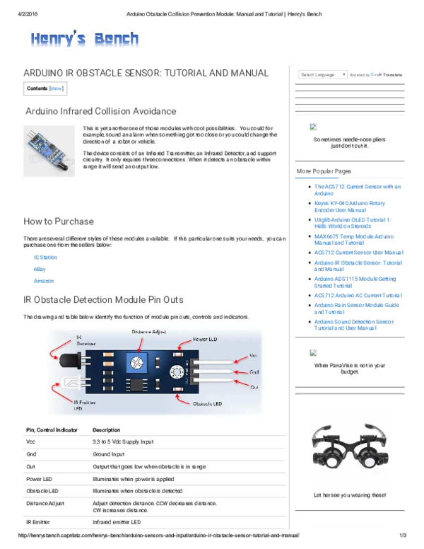 PDF) ARDUINO IR OBSTACLE SENSOR: TUTORIAL AND MANUAL | Haidiswal S T