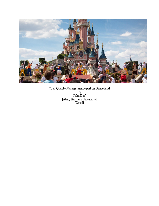 DOC) Total Quality Management report on Disneyland   Hira