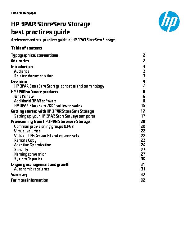 PDF) HP 3PAR StoreServ Storage best practices guide   Super