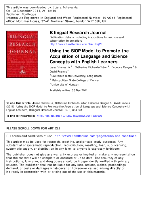 PDF) Using the SIOP Model to Promote the Acquisition of Language and
