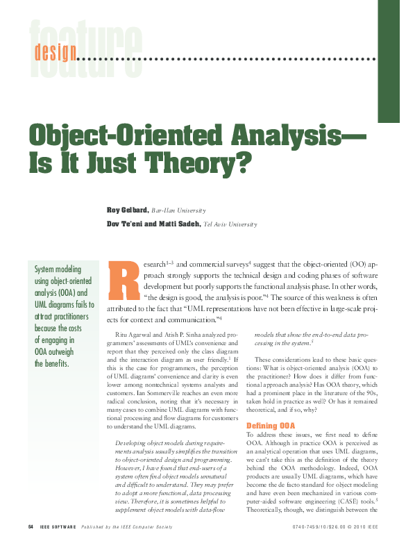 Pdf Object Oriented Analysis Is It Just Theory Dov Te Eni And R Gelbard Academia Edu