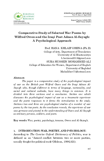 Pdf Comparative Study Of Selected War Poems By Wilfred Owen