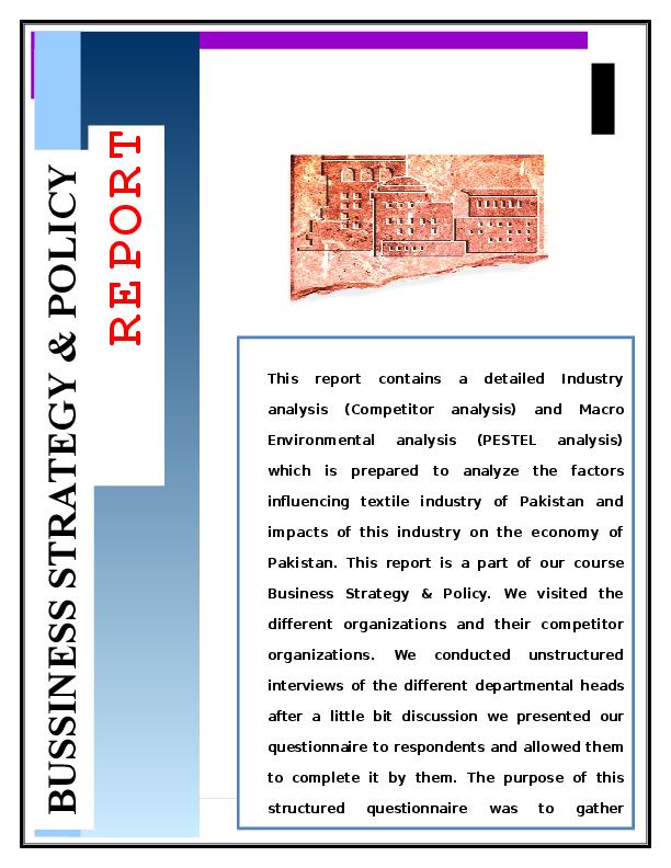 DOC) Pestel analysis of Textile industry of Pakistan