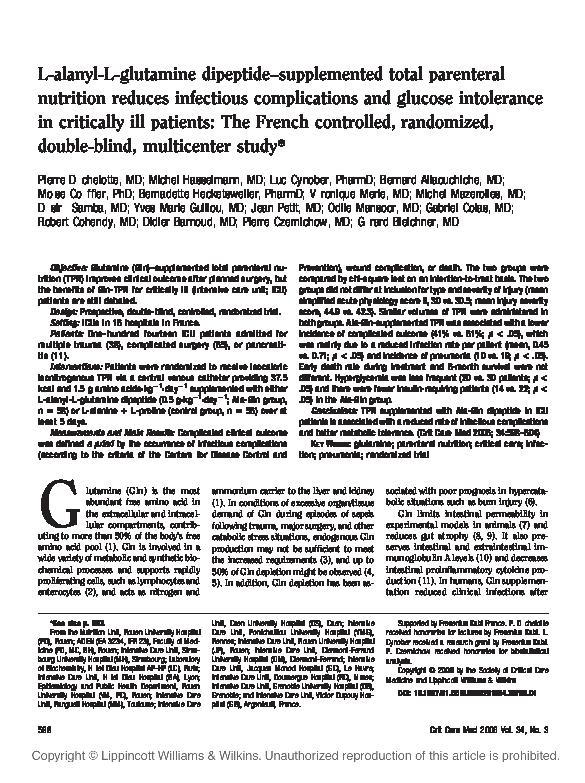 PDF) L-alanyl-L-glutamine dipeptide-supplemented total