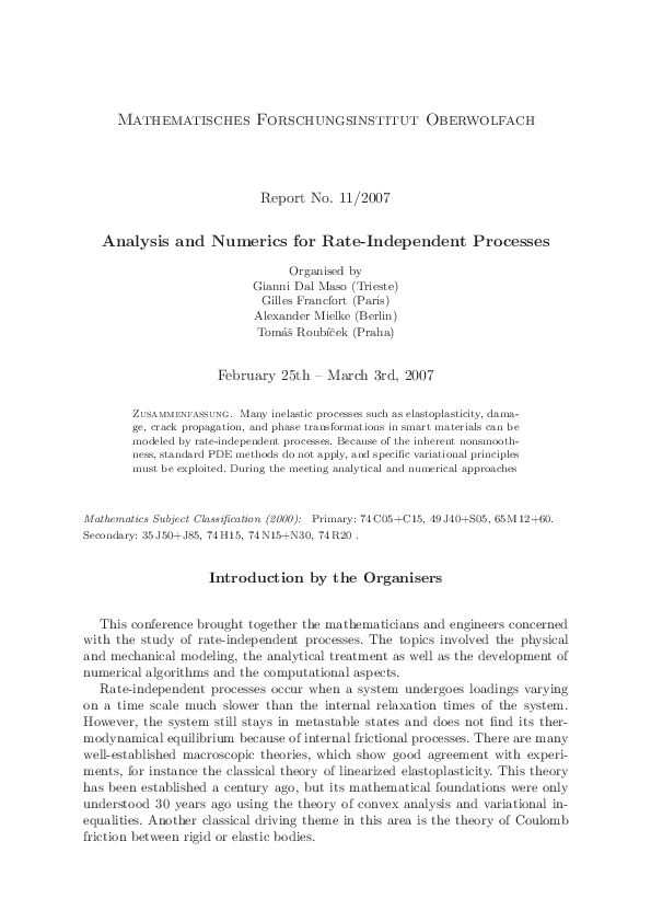 PDF) Analysis and Numerics for Rate-Independent Processes