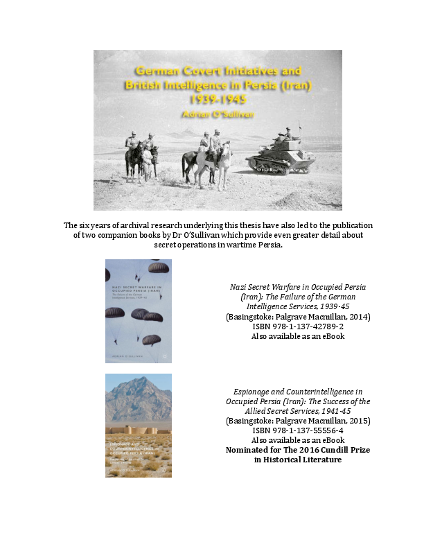 German Covert Initiatives And British Intelligence In Persia Iran