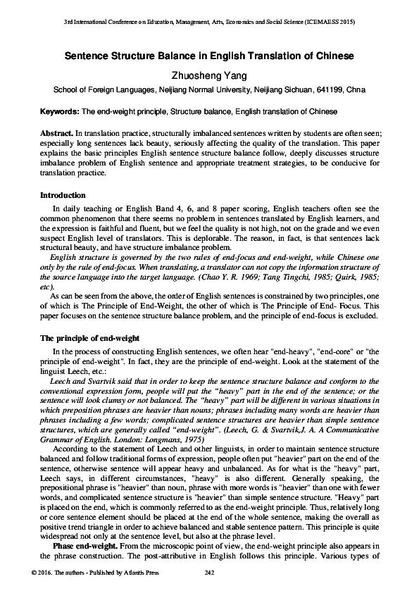 PDF) Sentence Structure Balance in English Translation of